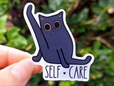 Self care is important! Keep this adorable kitty sticker around to remind you to rest up and take care of yourself, or gift to a friend who needs a little humor in their day.
