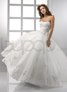 Flowing Tulle and Embellished Lace Ball Gown Scoop Neckline Wedding Dress