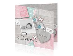 Geboortekaartje meisje foto lief pastel roze
