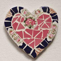 pink/blue vintage crockery heart by anna tilson | notonthehighstreet.com