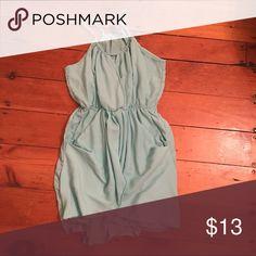 Cute summer dress Aqua Grecian type dress, never worn. Size large but I'm usually a medium and it fits me great! Dresses Mini