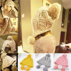 Women Warm Winter Protect Ear Baggy Ski Beanie Knit Crochet Ball Wool Hat Cap
