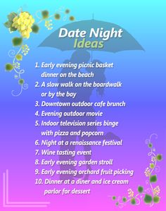 Wedding Blog: Date Night Idea List