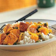 Tofu with Red Curry Paste, Peas, and Yellow Tomatoes | MyRecipes.com #myplate #protein