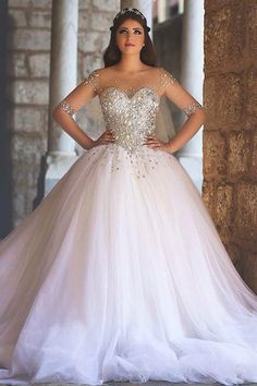 Shop affordable Glamorous Illusion Half Sleeve Tulle Wedding Dress Beadings Ball Gown at June Bridals! Over 8000 Chic wedding, bridesmaid, prom dresses & more are on hot sale. Xv Dresses, Quince Dresses, Ball Dresses, Ball Gowns, Prom Dresses, Dresses 2016, White Quinceanera Dresses, Long Dresses, Dress Prom