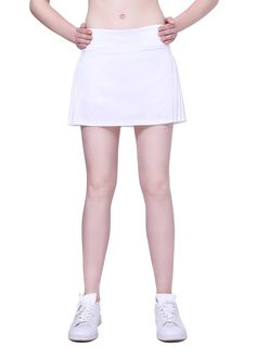 Women's Pleated Tennis Skort with Elastic(white, m). There are two pockets on the sides of short and one earphone cable hole on the left side that it's convenient to answer the phone or listen to music when doing sports. There is short iner and skirt outer, it's perfect for tennis, running, golf, hiking, and other sports. Behind the skirt is pleated, the front is flat, fashionable and the style is novel. Elastic-waist with drawstring, it is adjustable and fits well. Do not bleach and dry...