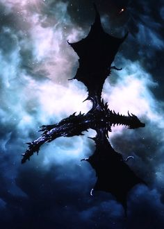 ALDUIN - Alduin, or the World-Eater, as he is known to the residents of Skyrim, is an immensely powerful dragon. He is depicted as a malevolent force who destroys the world periodically, and the Nords believe that his reappearance heralds the end of time. He is the self-proclaimed First-Born of Akatosh and aspect of Akatosh