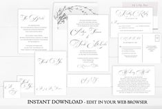 Feast your eyes on this printable calligraphy wedding invitation set. The perfect balance of elegance and minimalism from our Hanna Collection. Instantly download and personalize this calligraphy wedding invitation set right in your web browser.   #simpleweddinginvitation  #classicweddinginvitation  #vintageweddinginvitation  #weddinginvitationset  #calligraphywedding  #editableweddinginvitation