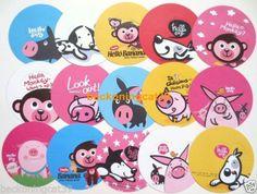 Cute-Animal-Round-Memo-Note-15pcs-Dog-Puppy-Pig-Monkey-Chick-English-Logo-JAPAN