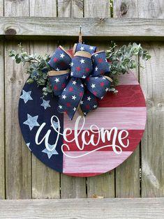 Patriotic Crafts, July Crafts, Summer Crafts, Holiday Crafts, Fourth Of July Decor, 4th Of July Decorations, July 4th, Front Door Decor, Wreaths For Front Door
