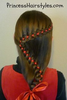 4 strand winding braid with ribbon, pretty Christmas hairstyle