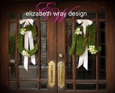 The initials of the bride and groom were covered in moss to greet guests at both the church and the reception venue. These little details add a lot to the personalization of a wedding.  Tailor your day to you with Elizabeth Wray Design florals and decor The Herrington Inn & Spa-Geneva,IL  #monogram #intials #weddingdecor