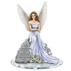 The Hamilton Collection Dona Gelsinger Angel of Courage Religious Figurine with Swarovski Crystals Thomas Kincaid, Loved One In Heaven, Blue Willow China, Biblical Verses, Bradford Exchange, White City, Guardian Angels, Hamilton, Swarovski Crystals