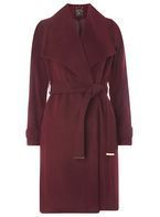 Womens **Tall Plum Belted Coat- Purple