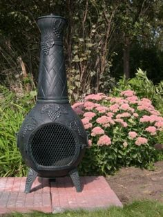 The Blue Rooster Grape Chiminea with Gas in Antique Green