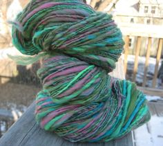 """Enchanted"": Handspun Art Yarn Wool, Soysilk, 169 yards"