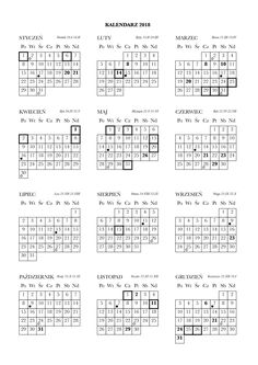 Kalendarz na 2018 rok do wydrukowania