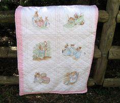 Beatrix Potter Vintage Baby Quilt, Baby Girl, Peter Rabbit, Beatrix Potter Quilt, by NormasTreasures on etsy