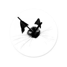 Coole Wanduhr in Schwarz-weiß: Curious Siamese Kitten von Priscilla Moore #hellosunday