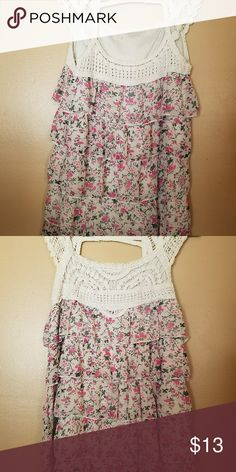 Lace Floral Ruffled Tank Top Size Small Lace top with multiple colors. Excellent condition. Only wore once or twice. Tops Blouses