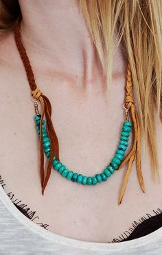 boho chic necklace. braided leather +  turquoise beads.