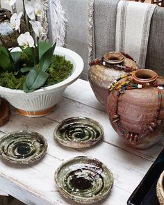 Japanese vases holding Nepalese necklaces Shigaraki ceramics by Takuma Murakoshi and our Chinese shino water bowl holding orchids. Open from today! Japanese Vase, Vases, Orchids, Hold On, Chinese, Necklaces, Ceramics, Shop, Instagram