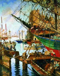 Benito Quinquela Martín.- European Paintings, Naive Art, Ship Art, Landscape Paintings, Landscapes, American Artists, South America, Painting & Drawing, Art Nouveau