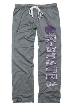 K-State Wildcats Womens Sweatpants - Grey KSU Wildcats Boyfriend Sweats