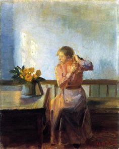 "Anna Ancher | ... tejiendo su cabello"", pintura de Anna Ancher (1859-1935, Denmark"