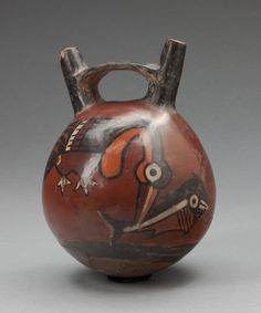 Nazca South coast, Peru  Double Spout Vessel Depicting a Bird Catching a Fish, 180 B.C./A.D. 500