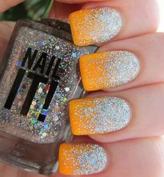 Sparkling and glittering half moon nail art in silver glitters and neon orange nail polish.