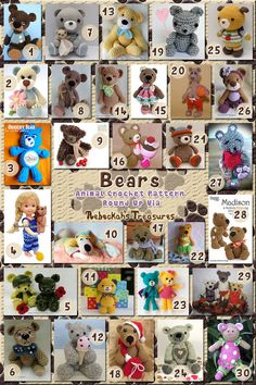 Bears Part 2 - Fancy Teddies & Softies | Animal Crochet Pattern Round Up via @beckastreasures
