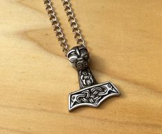Thor's Hammer Pewter Necklace Mjolnir Viking Pendant Norse Mens Necklace Mens Jewelry Unisex Necklace