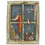 Fishing decor idea to make for Parker's room using my old window frame.