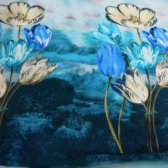 Green Blue Floral Printed Silk  #hautecouture #silk #printed #fabric #fabricstore #coralgables #shopping #onlineshopping #fabrics #women #womensfashion #fashion #fashionfabrics