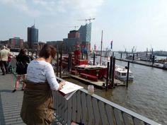 Aquarell malen an Elbpromenaden über dem Hamburger Feuerschiff | Malreise nach Hamburg – Malen an den Elbpromenaden beim Feuerschiff (c) Frank Koebsch