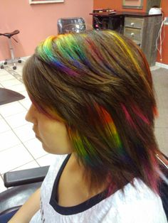 Rainbow hair. I love this because it looks like a birds little feathers peeking out