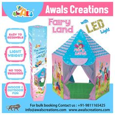 Let your #little #princess's aspirations comes to life with this #beautiful #Fairy Land #Led #Tent #House. #Adorable #Gift, perfect for #birthdays, #parties, #homedecor or #outdoor #fun. #MadeInIndia #IndianManufacturers #ToysManufacturers #KidsTentHouse #BulkOrders #AwalsCreations