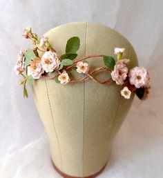 Rose tiara flower crown floral crown woodland por gardensofwhimsy