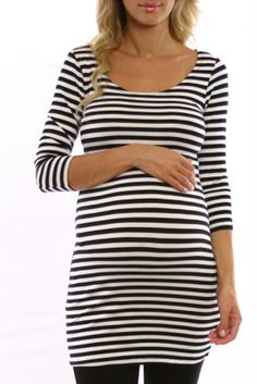Pink Blush Maternity has cute, reasonably price maternity clothes ( Black White Striped 3/4 Sleeve Maternity Shirt )