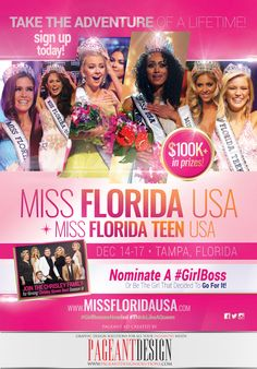 #AWESOMEpageantAD & Promo Flyer designed for MISS FLORIDA USA & TEEN USA 2018 • Nominate a #girlboss or Be The Girl that decides to GO FOR IT! SIGN UP TODAY at www.missfloridausa.com #Pageant #PageantDesign #PageantProgramBooks #PageantDesign For more samples and order info, check out: http://www.pageantdesignsolutions.com FOLLOW US! FACEBOOK: https://www.facebook.com/pageantdesign INSTAGRAM: https://www.instagram.com/pageantdesign ALL STATES, ALL AGES, ALL PAGEANTS SYSTEMS WELCOME…