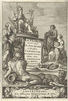 Cornelis van Dalen (I) | Personificaties van Europa, Azië en Afrika bieden Rome geschenken aan, op voorgrond riviergod en Romulus en Remus gezoogd door wolf, Cornelis van Dalen (I), Lowijs Elzevier (III) en Daniel, 1660 |