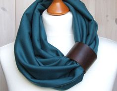 TEAL Infinity Circle Scarf Shawl Loop with leather cuff, teal infinity scarves. $29.90, via Etsy.