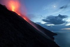 Magma Flies out from volcano Stromboli volcano in Italy