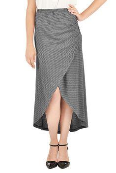I <3 this Heather stripe knit faux-wrap skirt from eShakti