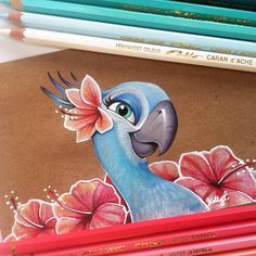 Finished with Jewels for now Time to do some real work #carandache #pablo #coloredpencil #drawing #jewel #rio #macaw