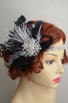 Style C041 Top Seller Headpiece pictured here in Black with Grey. Detachable fascinator, you can wear the headband separately.