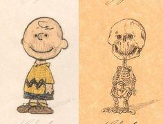 Charlie Brown & skeleton