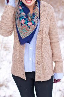 Sweater/button down/scarf combo and colors
