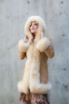 Vintage coat, leather fur hood cuffs, ivory white blonde shearling suede, winter wedding, England